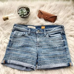 Anthropologie Pilcro Embroidered Jean Shorts